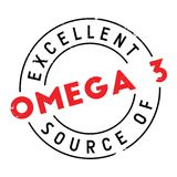 Excellent source of omega 3 stamp Royalty Free Stock Photo