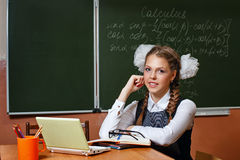 Excellent student in the classroom calculus. Stock Photo