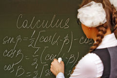 Excellent student in the classroom calculus. Stock Images