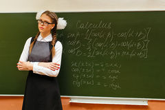 Excellent student in the classroom calculus. Royalty Free Stock Photo