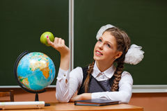Excellent student in geography lessons. Stock Photo