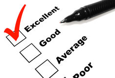 Excellent Survey with Pen Royalty Free Stock Photo