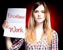 Excellent work, exam and proud woman royalty free stock image