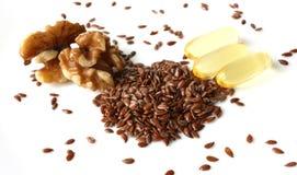 Excellentes sources des acides gras Omega-3 Images libres de droits