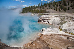 Excelsior Geyser Crater, Yellowstone. The beautiful Excelsior Geyser Crater hot spring in Midway Geyser Basin at Yellowstone National Park, Wyoming. USA royalty free stock images