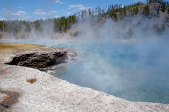 Excelsior Geyser Mist. Mist off Excelsior Geyser in Yellowstone National Park, Wyoming stock photos