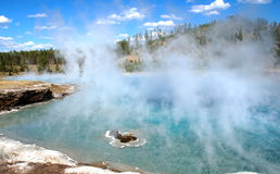 Excelsior Geyser Steam. And shoreline - Yellowstone National Park, Wyoming royalty free stock photo