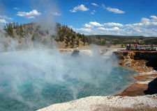 Excelsior Geyser and Tourists Royalty Free Stock Image