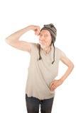 excenterskiva som slader hans manmuskelpensionär Fotografering för Bildbyråer