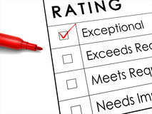 Exceptional check box with red pen over rating survey Stock Image