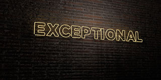 EXCEPTIONAL -Realistic Neon Sign on Brick Wall background - 3D rendered royalty free stock image Stock Images