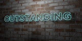 EXCEPTIONNEL - Enseigne au néon rougeoyant sur le mur de maçonnerie - 3D a rendu l'illustration courante gratuite de redevance illustration libre de droits