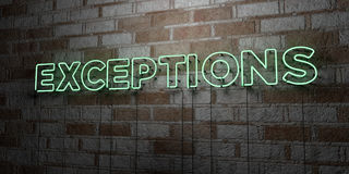 EXCEPTIONS - Glowing Neon Sign on stonework wall - 3D rendered royalty free stock illustration Stock Photo