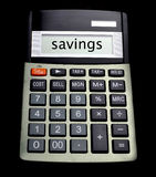 Excepto concpet del dinero con ahorros de la palabra en la calculadora imagenes de archivo