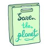 Excepto el planeta Bolso de Eco con una inscripción dibujada mano Fotos de archivo libres de regalías