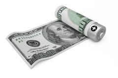 Excepto o conceito do dinheiro Bateria recarregável coberta com o dólar não ilustração do vetor
