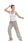 Excercising. Woman exercising qigong training sports Royalty Free Stock Images