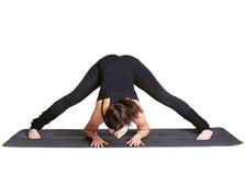 excercising padottanasana prasarita joga fotografia royalty free