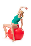 Excercising pregnant woman - isolated Royalty Free Stock Images