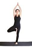 Excercising yoga pose vrikshasana Royalty Free Stock Photo