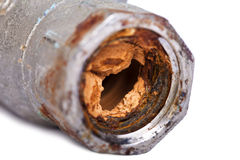 Broken & Rust Blocked Pipe Stock Image