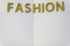 Inscription fashion. Excerpt from prepared decorations for fashion show Royalty Free Stock Image