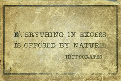 Excess Is opposed Hippocrates Stock Photos