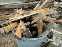 Excess Scrap Cut Wood in Trash Stock Image