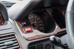 Car dashboard with excessive speeding Royalty Free Stock Photos
