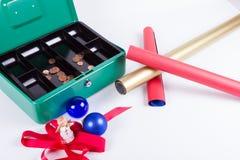 Excessive spending money for Christmas Stock Photos