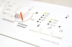 Excessive workload - Washing machine control panel Royalty Free Stock Photos