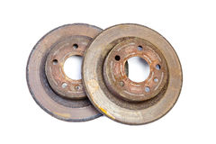 Excessively used rusty brake discs Royalty Free Stock Photography