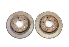 Excessively used rusty brake discs Royalty Free Stock Images