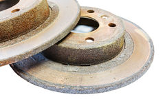 Excessively used rusty brake discs Royalty Free Stock Photo