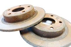 Excessively used rusty brake discs Stock Photos