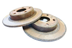 Excessively used rusty brake discs Stock Photography
