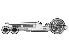 Excessivement la longue voiture ressemble à la limousine Voiture antique avec six roues Photographie stock libre de droits