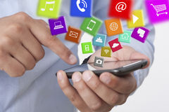 Exchange applications with a smart phone Stock Image