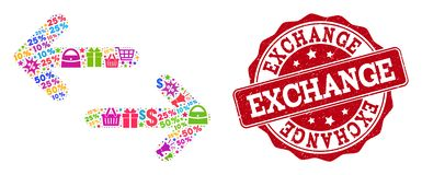 Exchange Arrows Collage of Mosaic and Grunge Seal for Sales royalty free illustration