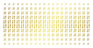 Exchange Arrows Gold Halftone Grid. Exchange arrows icon gold halftone pattern. Vector exchange arrows items are organized into halftone matrix with inclined stock illustration
