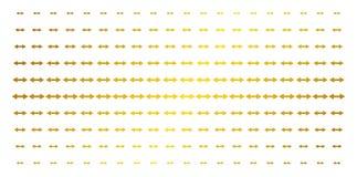 Exchange Arrows Gold Halftone Matrix. Exchange arrows icon gold halftone pattern. Vector exchange arrows symbols are organized into halftone matrix with inclined Vector Illustration