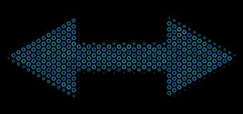 Exchange Arrows Mosaic Icon of Halftone Spheres. Halftone Exchange arrows composition icon of circle bubbles in blue color hues on a black background. Vector Royalty Free Stock Photo