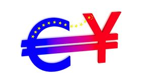 Exchange betwenn euro and chinese rmb Royalty Free Stock Photo
