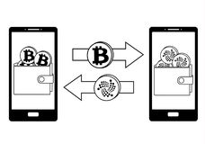 Exchange between bitcoin and iota in the phone. Crypto-currensy concept black and white, mobile bank Stock Images