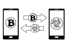 Exchange between bitcoin and iota in the phone. Crypto-currensy exchange concept black and white Royalty Free Stock Photography
