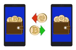Exchange between bitcoin and iota in the phone. On a white background , exchange cryptocurrency in the wallet , design concept color Royalty Free Stock Image