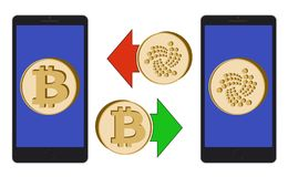 Exchange between bitcoin and iota in the phone. On a white background , symbol cryptocurrency coins in the phone , design concept color Royalty Free Stock Image