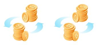 The exchange of bitcoins to metal dollars. Flat isometric illustration. The exchange of bitcoins to dollars. The currency conversion process. Flat vector vector illustration