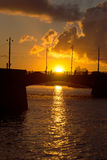 Exchange Bridge on the background of a spring sunset. Saint-Petersburg Royalty Free Stock Photography