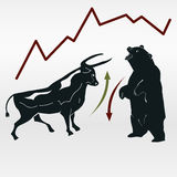 Exchange, bull and bear, market report. Bull and bear, market report, symbolic beasts of market trend with red and green arrows - vector Royalty Free Stock Photos